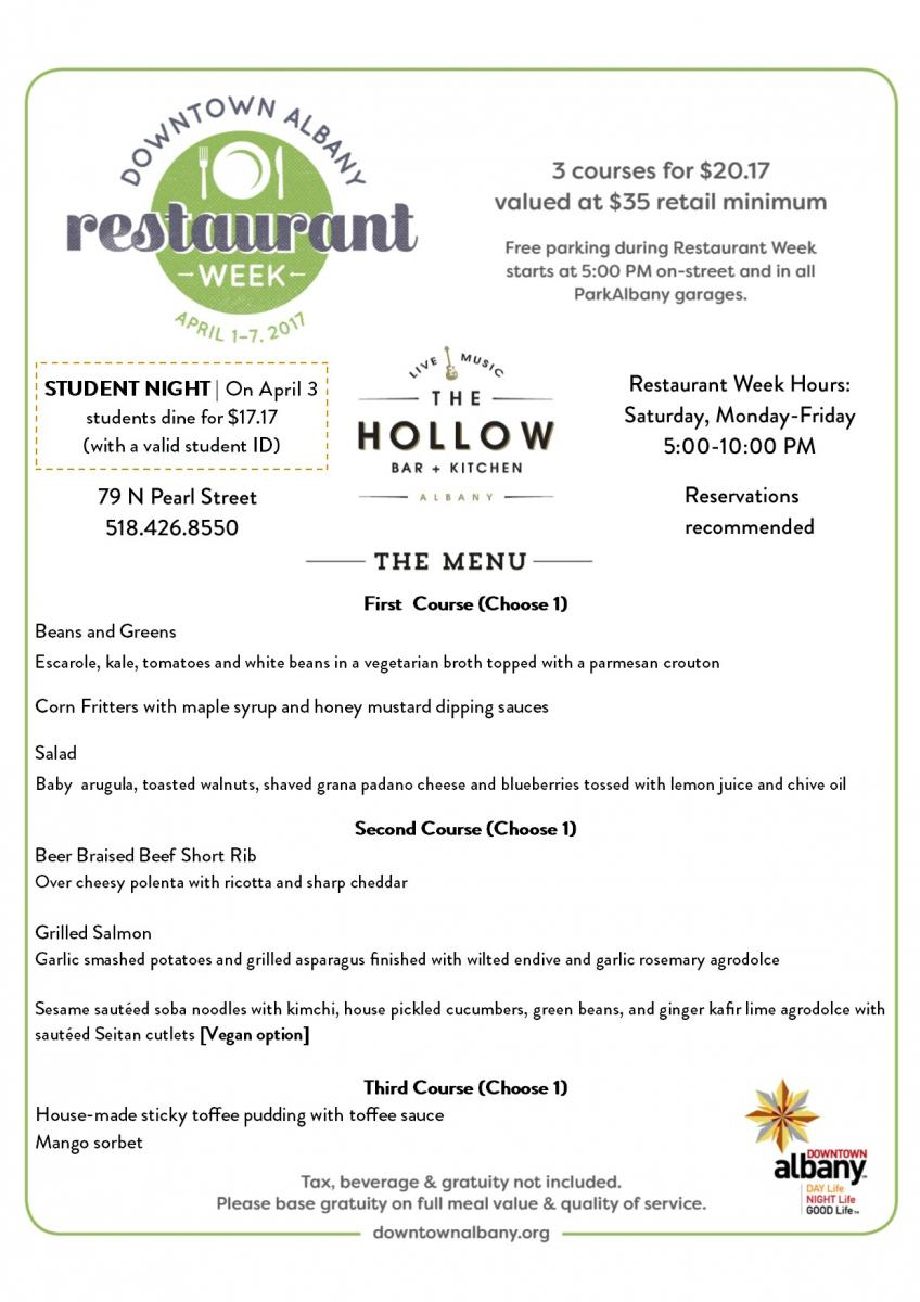 The Hollow Bar + Kitchen Restaurant Week | Downtown Albany